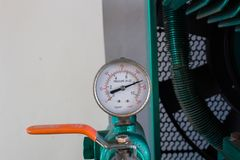 The pressure gauge, in the pneumatic system. Royalty Free Stock Photos