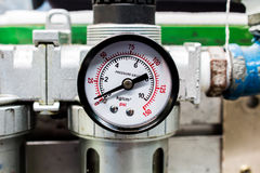 The pressure gauge, in the pneumatic system. The pressure gauge, in the pneumatic system royalty free stock photo