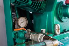 Pressure gauge, in the pneumatic system. The pressure gauge, in the pneumatic system stock photography