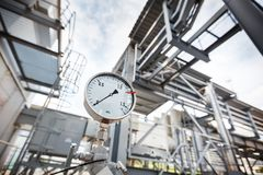 A pressure gauge or pressure indicator showing zero pressure in the gas, oil refining industry. royalty free stock images