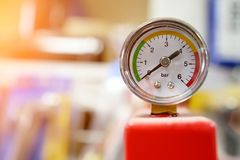 Pressure gauge shows zero pressure royalty free stock photography