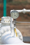 Pressure gauge on site. Stock Image
