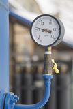 Pressure gauge. The pressure gauge on the tank production stock image
