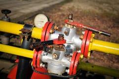 Pressure gauge and valve oil pump Stock Image