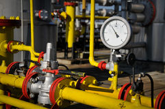 Pressure gauge and valve oil pump Stock Photos