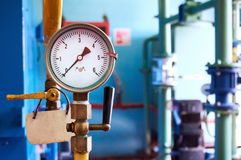 The pressure gauge for pressure shows zero. Abstract background. Stock Image