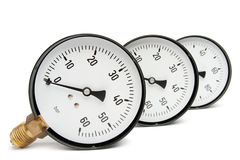 Pressure Gauge On White. Gas and oil industry royalty free stock images