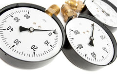Pressure Gauge  On White Stock Photos