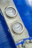Pressure Gauges. Steam Powered Engine Boiler Pressure Gauges royalty free stock photography
