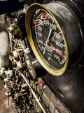 Pressure gauges aboard submarine ship stock photography