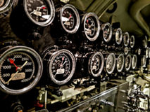 Pressure gauges aboard submarine ship royalty free stock photography
