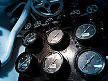 Pressure gauges aboard submarine ship stock photo