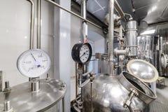 Pressure gauges. Alcohol distillation equipment. Preparation workshop for pure alcohols Stock Image