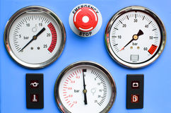 Pressure Gauges with button emergency Stock Images
