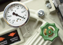 Pressure Gauges with green valves Stock Image
