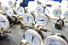 Pressure gauges manometers for water supply Stock Photography