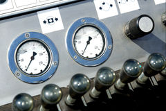Pressure gauges and operator's handles Stock Photo