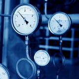 Pressure gauges and valves Royalty Free Stock Image