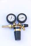 Pressure gauges and valves isolated with Clipping Path Royalty Free Stock Photography
