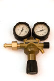 Pressure gauges and valves isolated with Clipping Path Stock Images