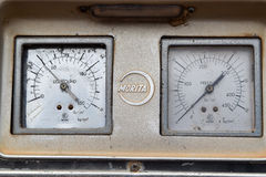 Pressure guage in fire truck Royalty Free Stock Photos