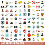 100 pressure icons set, flat style Stock Photography