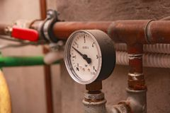 Pressure instrument. Instrument of heat water pressure royalty free stock photography