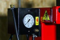 Pressure measurement part of tire replacement machine Stock Photos