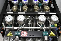 Pressure measuring. Oxygen equipment in hospital for anesthesia machine Stock Images