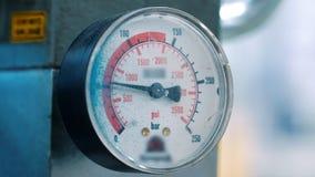 Manometer with arrow close up. Industrial equipment for measurement. Pressure measuring device. Instrument measuring pressure of liquid or gas closeup. Manometer stock video