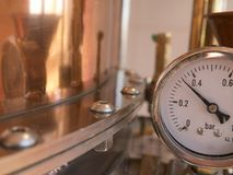 Pressure meter alembic. Parts of alembic still, pressure meter royalty free stock image