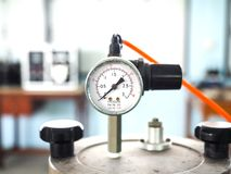 Pressure Meter in Tank. In a hospital Royalty Free Stock Photo