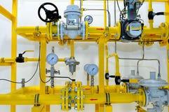 Pressure meters on natural gas pipeline.  Stock Photos