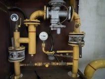 Pressure meters on gas pipeline. Pressure meters on natural gas pipeline Stock Photography