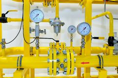 Pressure meters on natural gas pipeline.  Stock Photo