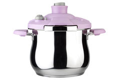 Pressure pan with pink handles Royalty Free Stock Image