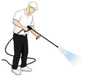 Pressure Power Washing Tech Clip Art Stock Photo
