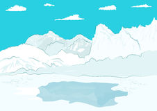 Pressure ridge and melt water at geographic north pole royalty free illustration