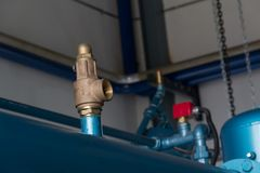 Pressure safety Valves. Pressure safety valve install at discharge of feed gas compressor to protect unexpected pressure form process Stock Images