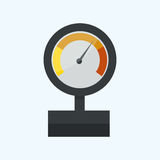 Pressure sensor manometer tool vector icon or pressure sensor on factory pipeline vector illustration. Gas industrial measure steel control tool machine test Royalty Free Stock Images
