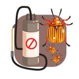 Pressure sprayer for extermination colorado potato beetles. Colorful cartoon illustration Royalty Free Stock Photo