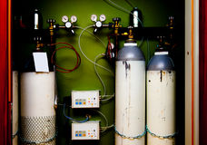 Pressure station system bottle gases Royalty Free Stock Photo