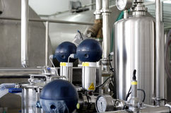 Pressure tanks in factory stock photography
