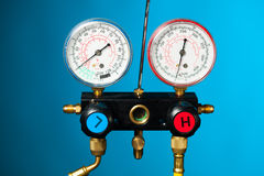 Pressure and temperature control meter Stock Photos