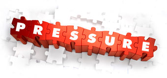 Pressure - Text on Red Puzzles. Stock Photo
