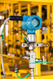 Pressure transmitter in oil and gas process , send signal to con Stock Photo