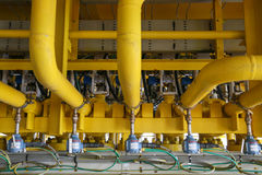 Pressure transmitter in oil and gas process , send signal to controller and reading pressure in the system, Transmitter in oil Stock Images