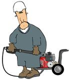 Pressure Washer. This illustration depicts a man wearing coveralls and using a gas powered pressure washer Stock Photography