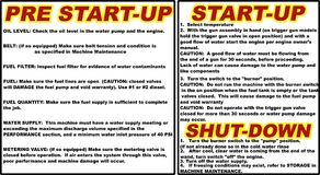 Pressure washer instructions pre start-up start-up shut-down vector illustration Royalty Free Stock Photo