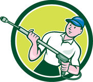 Pressure Washer Water Blaster Circle Cartoon. Illustration of a male pressure washing cleaner worker holding a water blaster viewed from front set inside circle Royalty Free Stock Photos